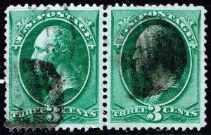 US STAMP #184 – 1879 3c Washington, green  USED PAIR