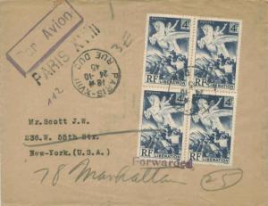 France 4F Liberation (4) 1945 Paris-XVIII, Rue Duc Airmail to New York, N.Y. ...
