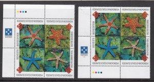 MICRONESIA ^^^^^sc# 240  x2  MNH BLOCKS  ( STARFISHES) $$@ lar 850micro