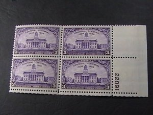 US # 838-MINT NEVER/HINGED---LR--PLATE # BLOCK OF 4(#22091)---OLD CAPITOL--1938