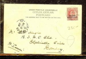 SOMALILAND (P0210B) 1903  KE 1A ON PPC , CEYLON, TO INDIA