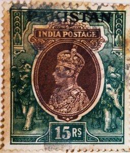 Pakistan:1948:15Rs:India Postage Overprinted Pakistan(Uncommon)