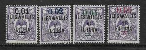 WALLIS & FUTUNA ISLANDS  29-32 MINT HINGED, SURCHARGED STAMPS 1922