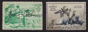 US Sc RW16, RW19 used 1949/51 Duck Stamps, 2 diff