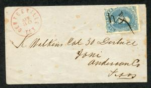 CONFEDERATE CENTREVILLE, TX 4/30/1862 COMPLETE FOLDED LETTER TO IONI, TX SHOWN