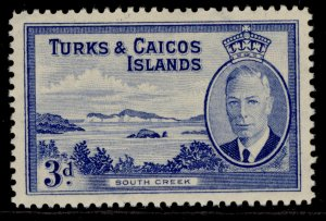 TURKS & CAICOS ISLANDS GVI SG226, 3d bright blue, M MINT.