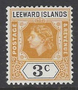 Leeward Islands, Scott #136; 3c Queen Elizabeth II, MLH