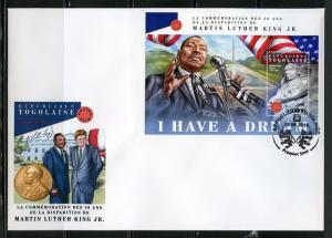 TOGO 2018  50th MEMORIAL  ANNIVERSARY OF MARTIN LUTHER KING Jr. S/ SHEET  FDC
