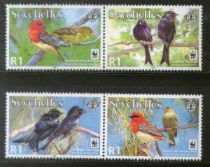 Seychelles 2008 WWF Aldabra Drongo Red-headed Fody Birds Wildlife Animal MNH 424