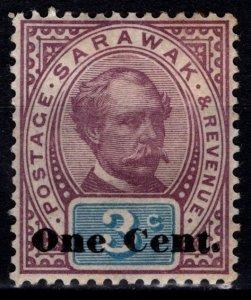 Sarawak 1889 Definitive 3c Sir Charles Brooke Optd. 'One Cent' [Unused]