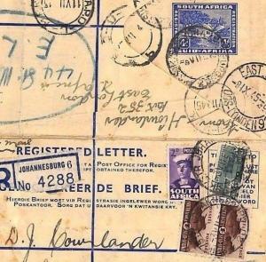S.Africa WW2 MILITARY Jo'burg Registered Letter Forwarded Cover TANKS 1945 ZZ154