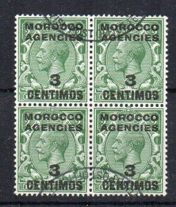Morocco Agencies 1917 3c on 1/2d GB surcharge FU CDS block of 4