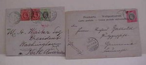 NIGERIA  CENSORED  1907 TO PRESIDENT (SIC) 3 US BACKSTAMP INCLUDE MAIL OPENER