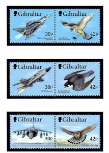 Gibraltar 812a-14a MNH 1999 Fighter Jets and Birds Pairs