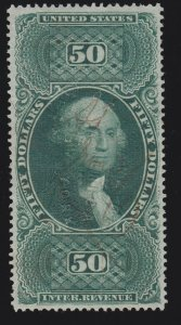 US R101c $50 Revenue Stamp Used w/ Embossed Cancel XF appr SCV $210