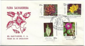 EL SALVADOR  1986 FLOWERS, FLORA FROM SALVADOR, SET ON FIRST DAY COVER  FDC