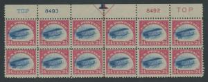 #C3 VAR 24c 1918 AIRMAIL TOP PLATE BLOCK OF 12 FAST PLANE VARIETY WLM7010