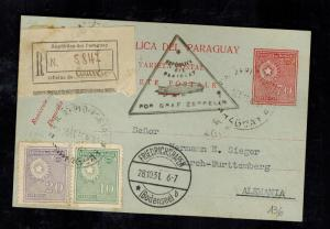 1931 Paraguay LZ 127 Graf Zeppelin Postcard Cover to Herman Sieger Lorch Germany