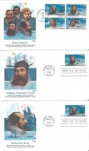 US 2220-3  Polar Explorers  5 Covers Fleetwood Cachets