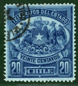 TELEGRAPH Stamp 20c CHILE Used 1880s ex Telegraphs Collection ORANGE290