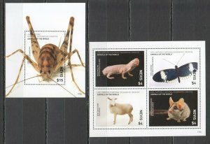 NW05 2017 NEVIS NATIONAL GEOGRAPHIC ANIMALS BUTTERFLIES MICHEL 27€ KB+BL MNH