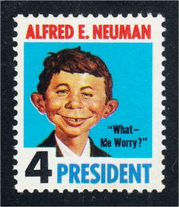 Alfred E Neuman For President What Me Worry Mad Magazine Fantasy Stamp 1964