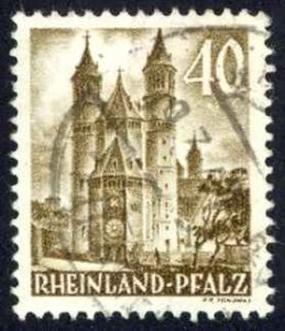Germany Rhine Palatinate Sc# 6N36 Used 1949 40pf Cathedral of Worms