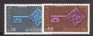 Sc# 182-83 - French Andorra - 1968 - Europa - MNH - superfleas - cv$16.50