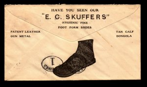 1908 E.C. Skuffers Shoe Advert Cover / Nice Boston CDS - L9469