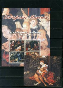 GRENADA 2003 PAINTINGS BY LUCAS CRANACH SHEET OF 4 STAMPS & S/S MNH