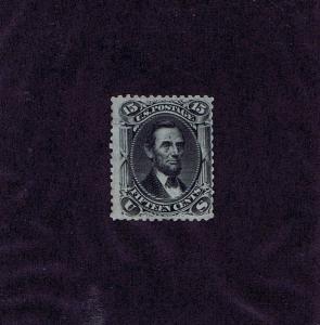 SC# 77 UNUSED RE-GUMMED 15 CENT LINCOLN, 1866, HIGH CV, WEISS CERT, LOOK!