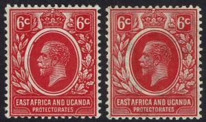 EAST AFRICA AND UGANDA 1912 KGV 6C BOTH SHADES WMK MULTI CROWN CA