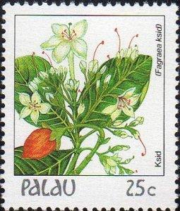 Palau 133 - Mint-NH - 25c Fragraea Ksid (Flower) (1988) (cv $0.50)