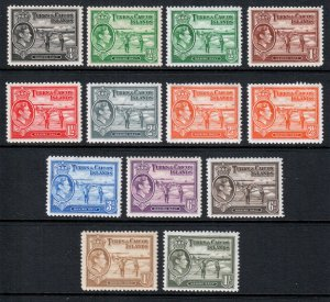 Turks and Caicos KGVI 1938 Part Set to 1/- SG194/202a Mint MH