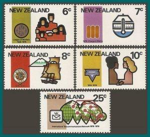New Zealand 1976 Anniversaries, MNH  #593-597,SG1110-SG1114