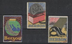 Berson Heels Lot of 3 Advertising Poster Stamps, NG