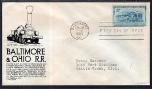 US 1006 B and O Railroad C Anderson Black Typed FDC