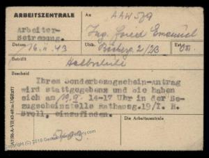 3rd Reich Germany 1943 Bohemia Moravia Theresienstadt Camp Ration Permit 89977