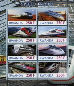 Rwanda High Speed Train Transportation Souvenir Sheet of 8 Stamps Mint NH