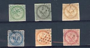 French (Colonies), 1-6, Eagle & Crown Singles ,**Used**