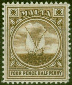 Malta 1905 4 1/2d Brown SG57 V.F Very Lightly Mtd Mint