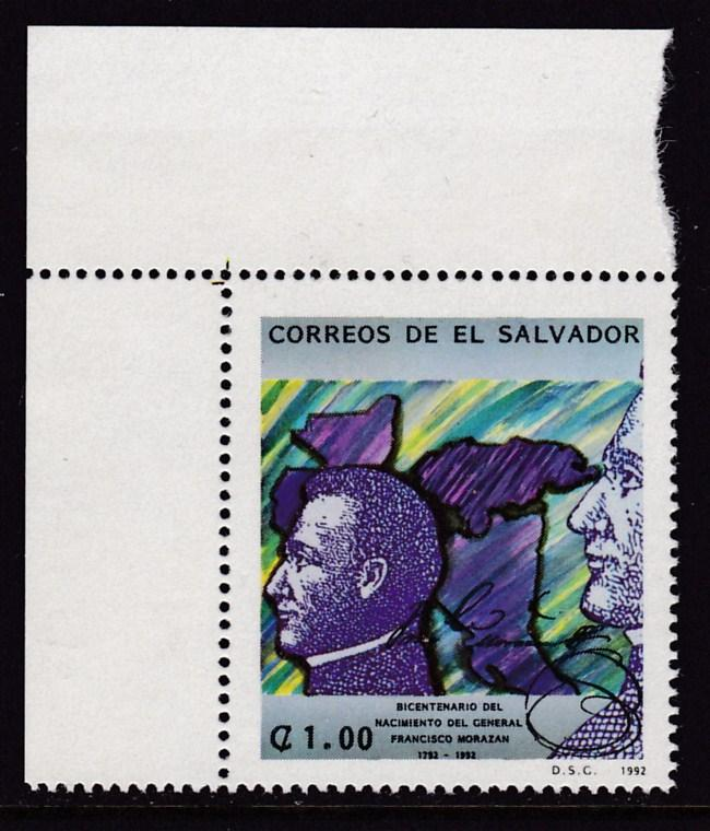 El Salvador 1992  General Francisco Morazan  VF/NH(**)