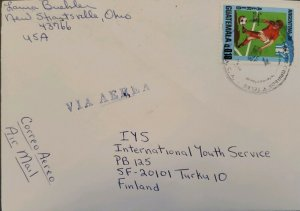 A) 1978, GUATEMALA, LETTER SENT TO FINLAND PASSING THROUGH THE UNITED STATES, SO