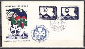 Philippines, Scott cat. 637, 637a. Girl Scouts, PERF & IMPERF. First day cover.