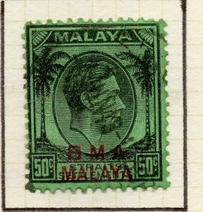 Malaya Straights Settlements 1945 Early Shade of Used 50c. BMA Optd 307963
