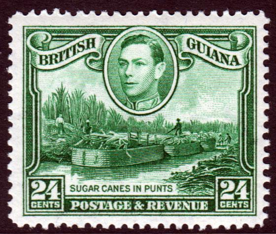British Guiana KGVI 1938 24c Blue-Green SG312a Mint Lightly Hinged