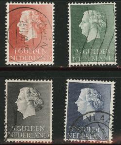 Netherlands Scott 361-64 used 1954-7 Queen Juliana stamp set