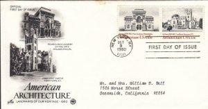 1980, 15c American Architecture, Artcraft/PCS, FDC (E8271)