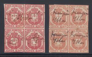 Cuba JoAA16, JoAA16a used. 1858 DERECHO JUDICIAL revenues, blocks of 4, sound.