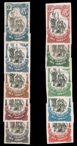 SOMALI COAST 1902 IMPERF COLOR TRIAL PROOFS WITHOUT VALUE 10 issues NG and .